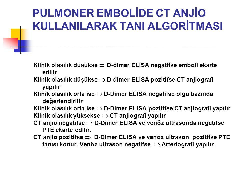 PULMONER EMBOLİDE CT ANJİO KULLANILARAK TANI ALGORİTMASI Klinik olasılık düşükse  D-dimer ELISA negatifse emboli ekarte edilir Klinik olasılık düşükse  D-dimer ELISA pozitifse CT anjiografi yapılır Klinik olasılık orta ise  D-Dimer ELISA negatifse olgu bazında değerlendirilir Klinik olasılık orta ise  D-Dimer ELISA pozitifse CT anjiografi yapılır Klinik olasılık yüksekse  CT anjiografi yapılır CT anjio negatifse  D-Dimer ELISA ve venöz ultrasonda negatifse PTE ekarte edilir.
