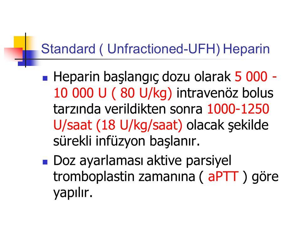 Standard ( Unfractioned-UFH) Heparin Heparin başlangıç dozu olarak 5 000 - 10 000 U ( 80 U/kg) intravenöz bolus tarzında verildikten sonra 1000-1250 U/saat (18 U/kg/saat) olacak şekilde sürekli infüzyon başlanır.
