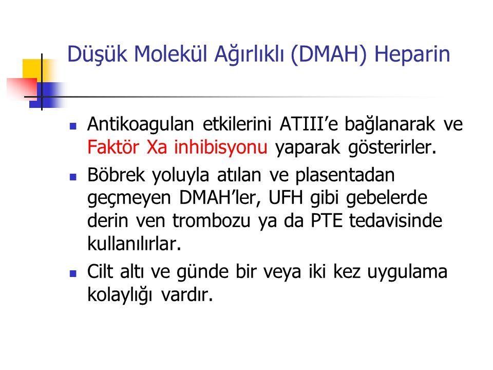 Düşük Molekül Ağırlıklı (DMAH) Heparin Antikoagulan etkilerini ATIII'e bağlanarak ve Faktör Xa inhibisyonu yaparak gösterirler.