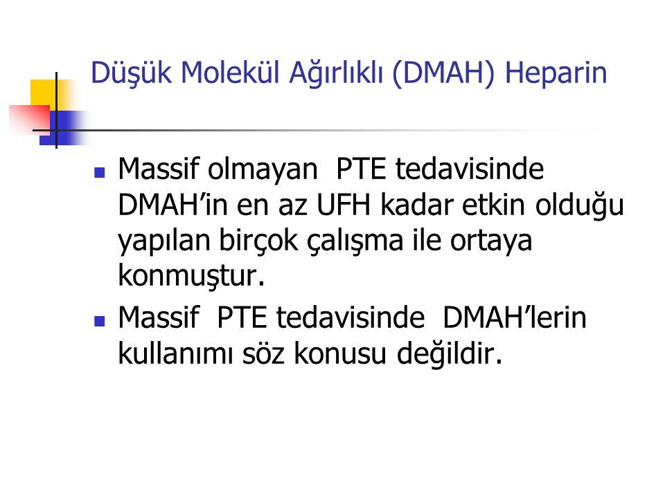 Düşük Molekül Ağırlıklı (DMAH) Heparin Massif olmayan PTE tedavisinde DMAH'in en az UFH kadar etkin olduğu yapılan birçok çalışma ile ortaya konmuştur.