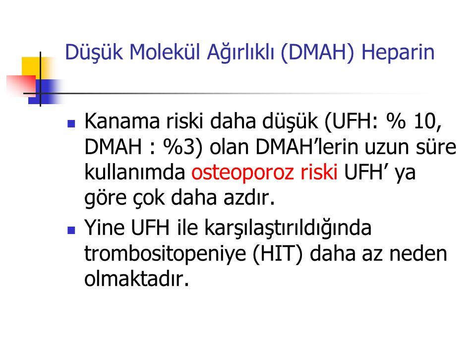 Düşük Molekül Ağırlıklı (DMAH) Heparin Kanama riski daha düşük (UFH: % 10, DMAH : %3) olan DMAH'lerin uzun süre kullanımda osteoporoz riski UFH' ya göre çok daha azdır.