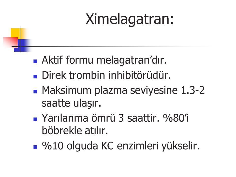Ximelagatran: Aktif formu melagatran'dır.Direk trombin inhibitörüdür.