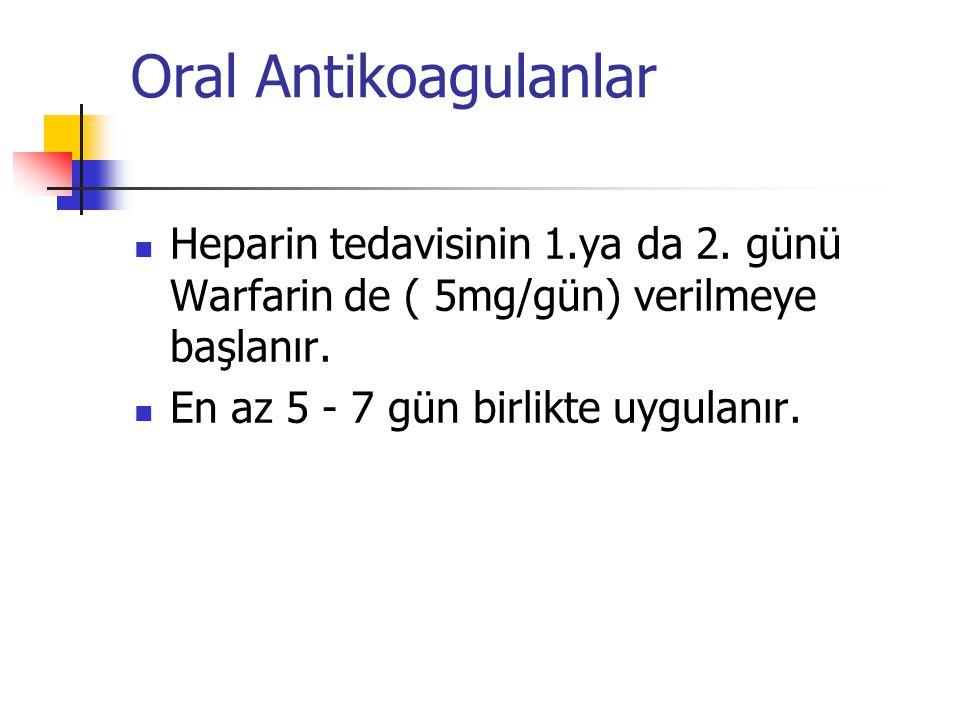 Oral Antikoagulanlar Heparin tedavisinin 1.ya da 2.