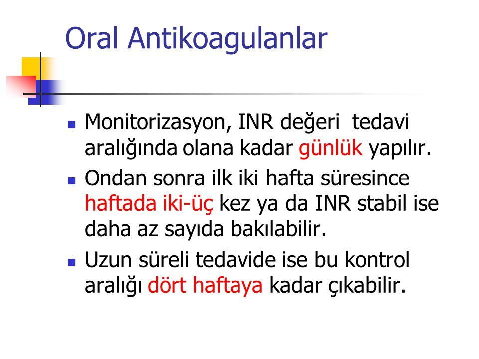 Oral Antikoagulanlar Monitorizasyon, INR değeri tedavi aralığında olana kadar günlük yapılır.