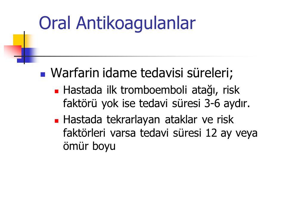 Oral Antikoagulanlar Warfarin idame tedavisi süreleri; Hastada ilk tromboemboli atağı, risk faktörü yok ise tedavi süresi 3-6 aydır.