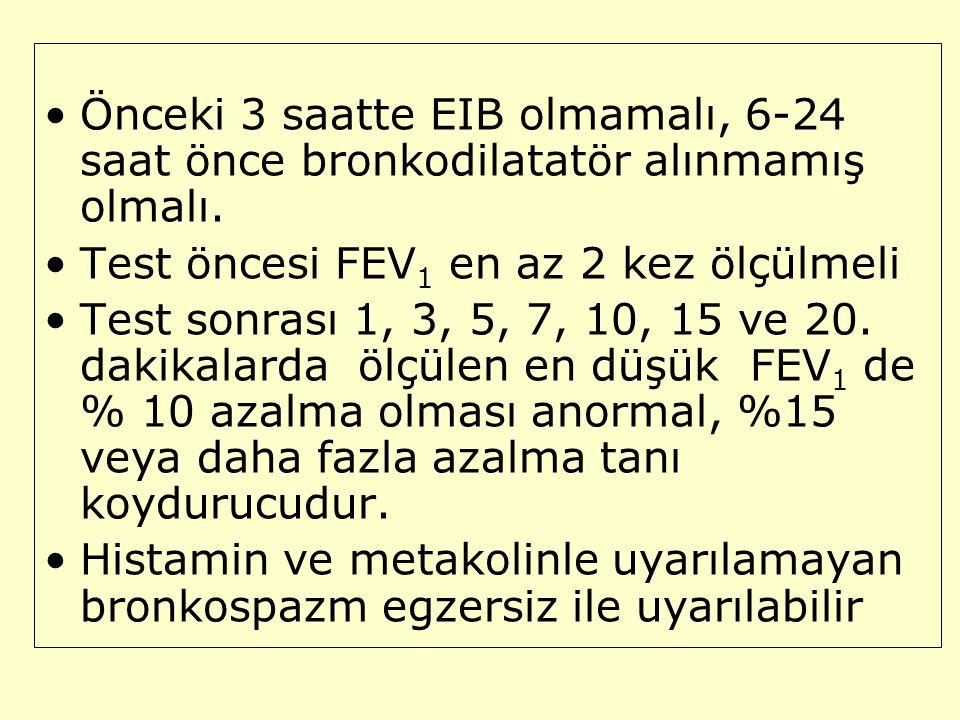 Önceki 3 saatte EIB olmamalı, 6-24 saat önce bronkodilatatör alınmamış olmalı. Test öncesi FEV 1 en az 2 kez ölçülmeli Test sonrası 1, 3, 5, 7, 10, 15