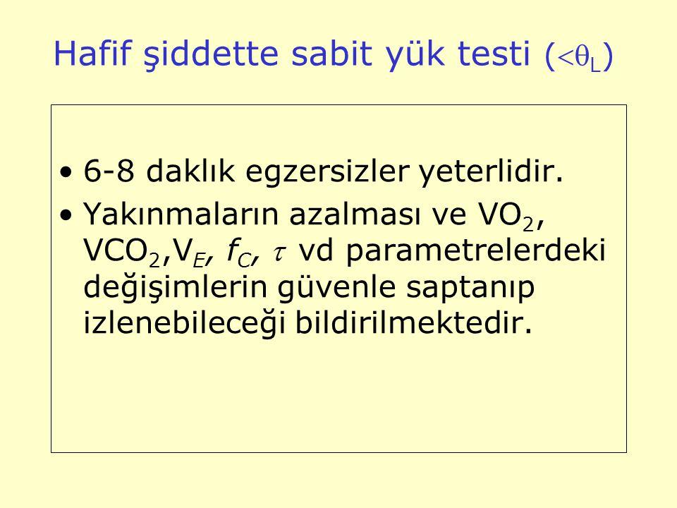 Hafif şiddette sabit yük testi ( L ) 6-8 daklık egzersizler yeterlidir. Yakınmaların azalması ve VO 2, VCO 2,V E, f C, vd parametrelerdeki değişi