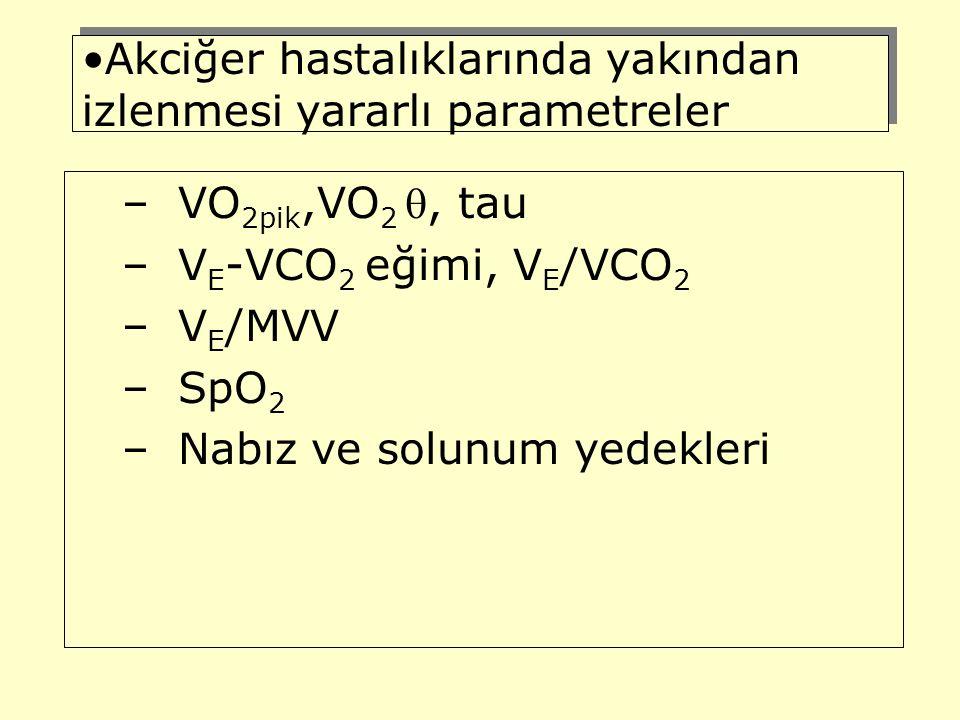 Akciğer hastalıklarında yakından izlenmesi yararlı parametreler –VO 2pik,VO 2 , tau –V E -VCO 2 eğimi, V E /VCO 2 –V E /MVV –SpO 2 –Nabız ve solunum