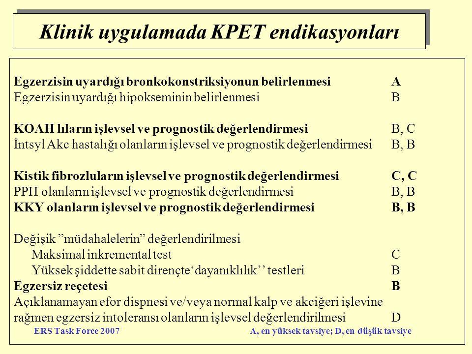 Klinik uygulamada KPET endikasyonları Egzerzisin uyardığı bronkokonstriksiyonun belirlenmesiA Egzerzisin uyardığı hipokseminin belirlenmesiB KOAH lıla