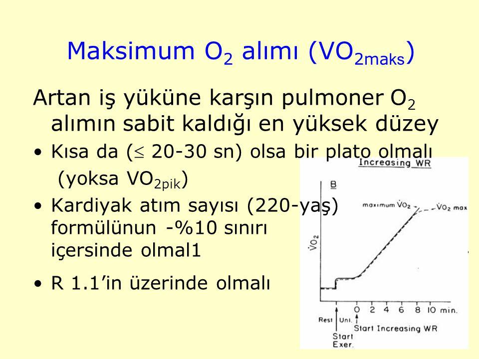 Maksimum O 2 alımı (VO 2ma ks ) Artan iş yüküne karşın pulmoner O 2 alımın sabit kaldığı en yüksek düzey Kısa da ( 20-30 sn) olsa bir plato olmalı (y