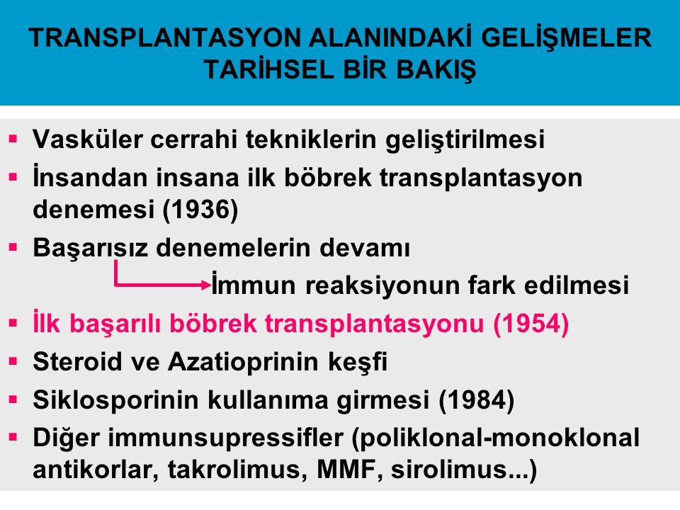 TRANSPLANTASYON ALANINDAKİ GELİŞMELER TARİHSEL BİR BAKIŞ  Vasküler cerrahi tekniklerin geliştirilmesi  İnsandan insana ilk böbrek transplantasyon de