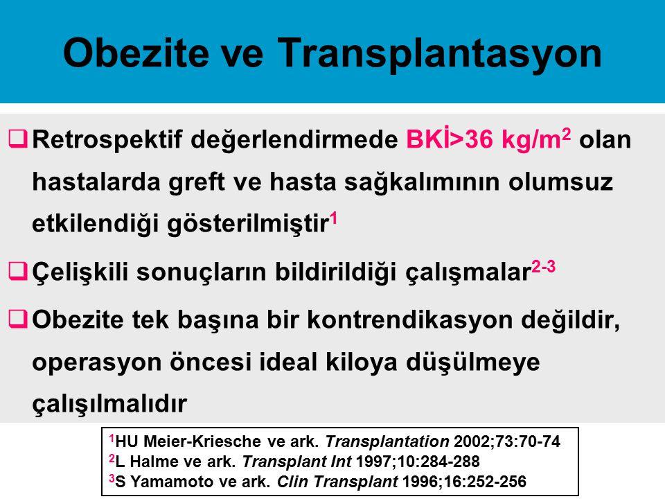 Obezite ve Transplantasyon  Retrospektif değerlendirmede BKİ>36 kg/m 2 olan hastalarda greft ve hasta sağkalımının olumsuz etkilendiği gösterilmiştir