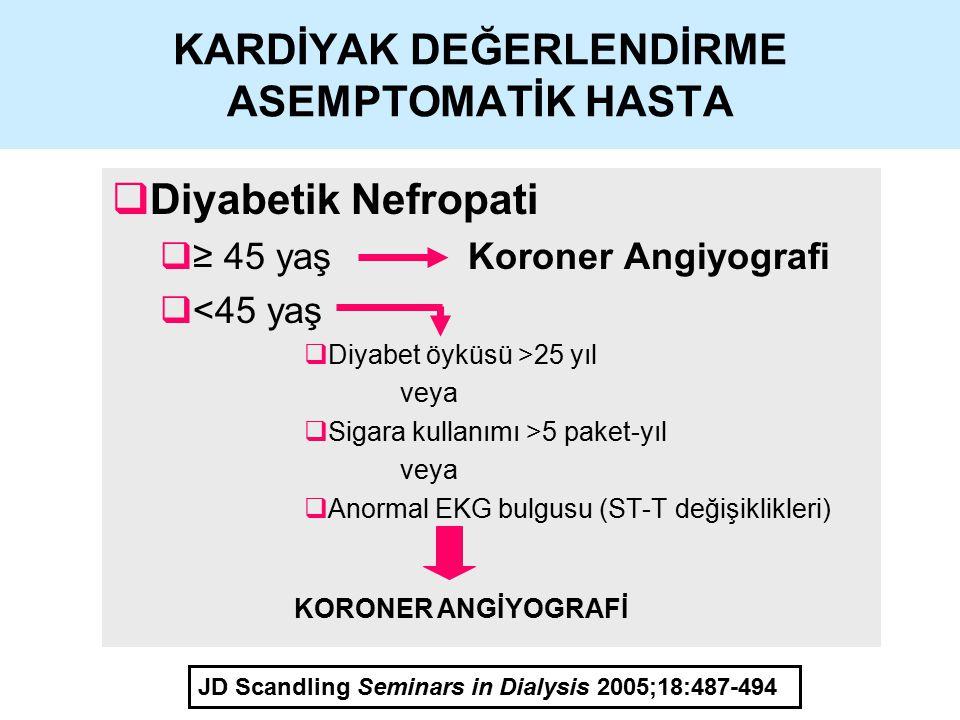 KARDİYAK DEĞERLENDİRME ASEMPTOMATİK HASTA  Diyabetik Nefropati  ≥ 45 yaş Koroner Angiyografi  <45 yaş  Diyabet öyküsü >25 yıl veya  Sigara kullan