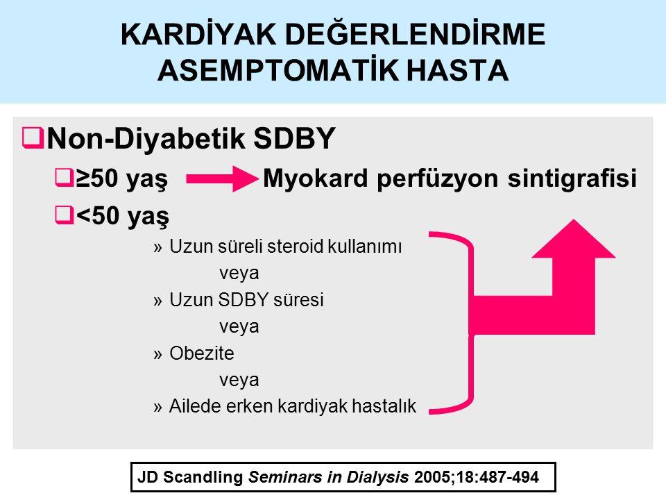 KARDİYAK DEĞERLENDİRME ASEMPTOMATİK HASTA  Non-Diyabetik SDBY  ≥50 yaş Myokard perfüzyon sintigrafisi  <50 yaş »Uzun süreli steroid kullanımı veya