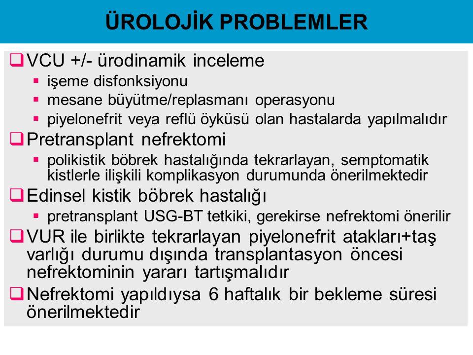 ÜROLOJİK PROBLEMLER  VCU +/- ürodinamik inceleme  işeme disfonksiyonu  mesane büyütme/replasmanı operasyonu  piyelonefrit veya reflü öyküsü olan h