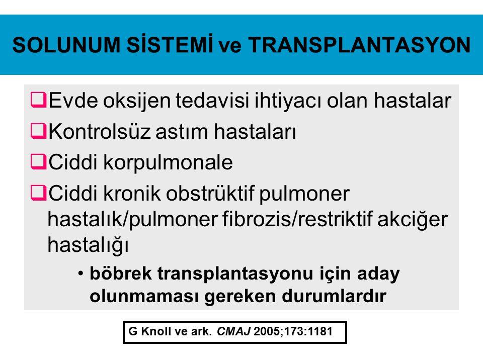 SOLUNUM SİSTEMİ ve TRANSPLANTASYON  Evde oksijen tedavisi ihtiyacı olan hastalar  Kontrolsüz astım hastaları  Ciddi korpulmonale  Ciddi kronik obs
