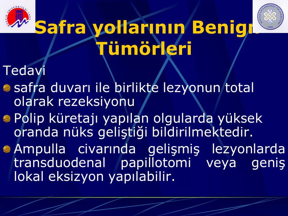 Safra yollarının Benign Tümörleri Tedavi safra duvarı ile birlikte lezyonun total olarak rezeksiyonu Polip küretajı yapılan olgularda yüksek oranda nü