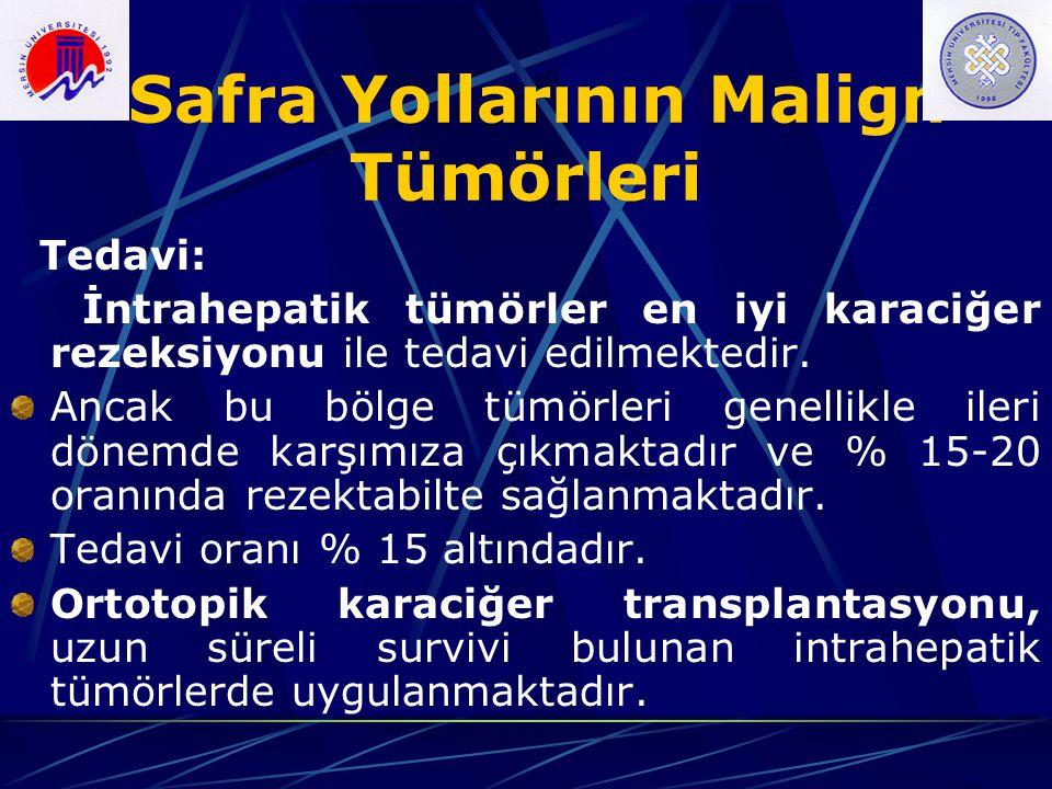 Safra Yollarının Malign Tümörleri Tedavi: İntrahepatik tümörler en iyi karaciğer rezeksiyonu ile tedavi edilmektedir. Ancak bu bölge tümörleri genelli