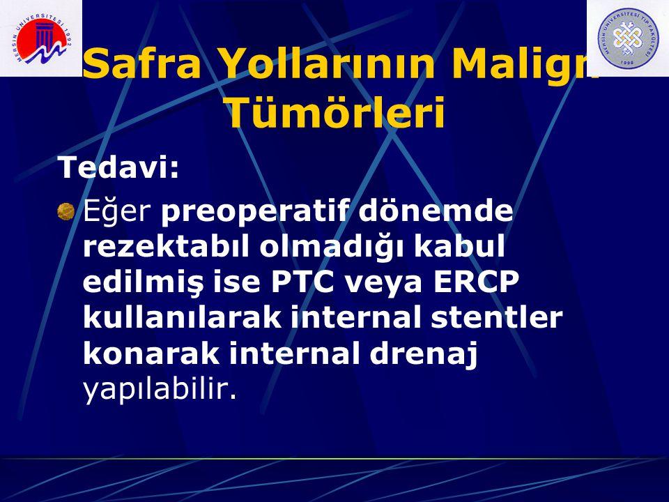 Safra Yollarının Malign Tümörleri Tedavi: Eğer preoperatif dönemde rezektabıl olmadığı kabul edilmiş ise PTC veya ERCP kullanılarak internal stentler