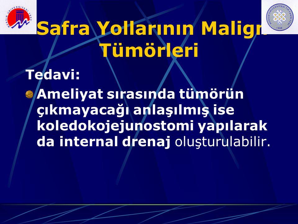 Safra Yollarının Malign Tümörleri Tedavi: Ameliyat sırasında tümörün çıkmayacağı anlaşılmış ise koledokojejunostomi yapılarak da internal drenaj oluşt