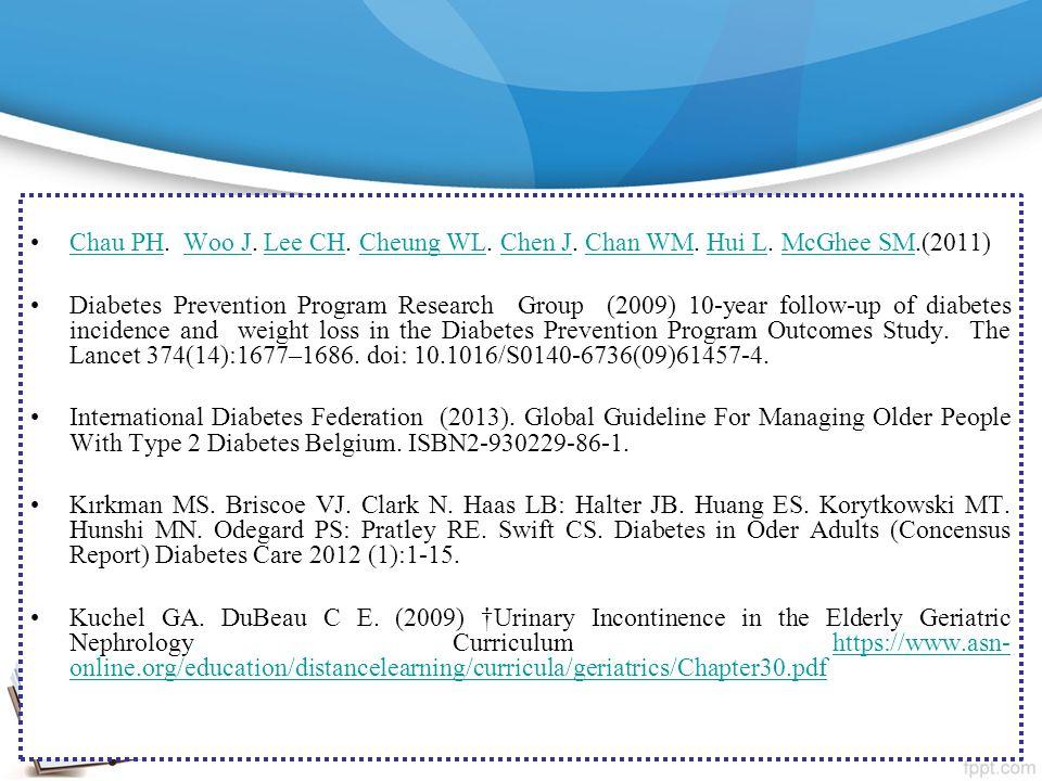 Chau PH. Woo J. Lee CH. Cheung WL. Chen J. Chan WM. Hui L. McGhee SM.(2011)Chau PHWoo JLee CHCheung WLChen JChan WMHui LMcGhee SM Diabetes Prevention