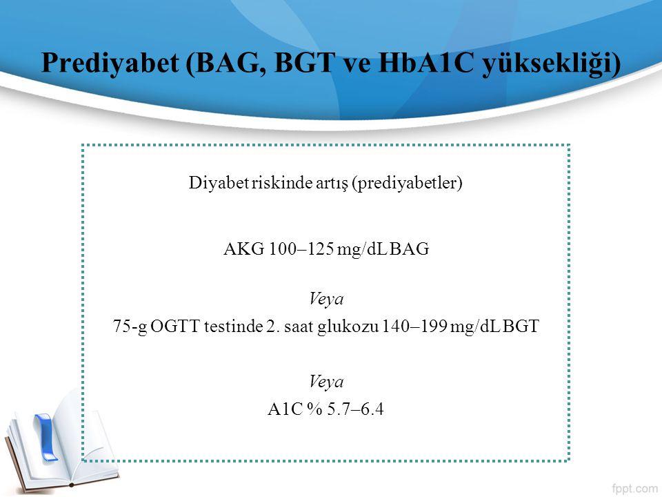 Prediyabet (BAG, BGT ve HbA1C yüksekliği) Diyabet riskinde artış (prediyabetler) AKG 100–125 mg/dL BAG Veya 75-g OGTT testinde 2. saat glukozu 140–199