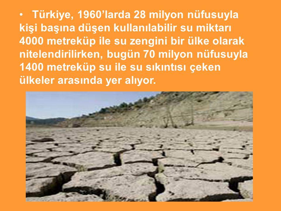 Türkiye, 1960'larda 28 milyon nüfusuyla kişi başına düşen kullanılabilir su miktarı 4000 metreküp ile su zengini bir ülke olarak nitelendirilirken, bugün 70 milyon nüfusuyla 1400 metreküp su ile su sıkıntısı çeken ülkeler arasında yer alıyor.