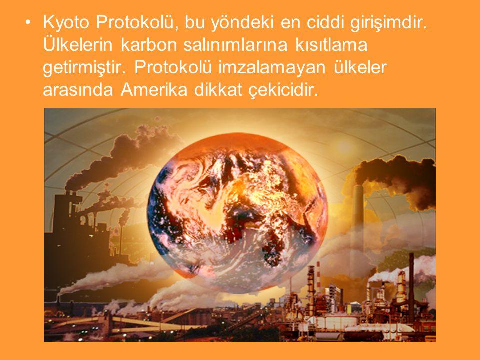 Kyoto Protokolü, bu yöndeki en ciddi girişimdir. Ülkelerin karbon salınımlarına kısıtlama getirmiştir. Protokolü imzalamayan ülkeler arasında Amerika