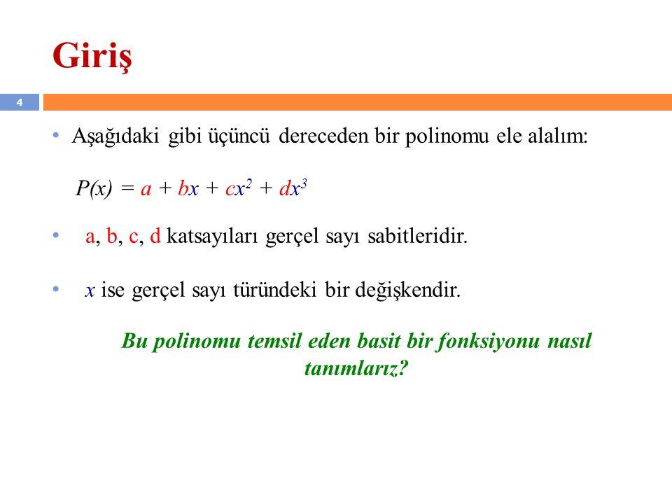 4 Giriş Aşağıdaki gibi üçüncü dereceden bir polinomu ele alalım: P(x) = a + bx + cx 2 + dx 3 a, b, c, d katsayıları gerçel sayı sabitleridir. x ise ge