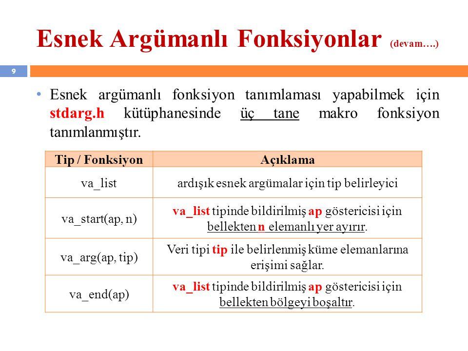 9 Esnek Argümanlı Fonksiyonlar (devam….) Esnek argümanlı fonksiyon tanımlaması yapabilmek için stdarg.h kütüphanesinde üç tane makro fonksiyon tanımla