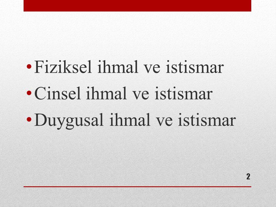 Epidemiyoloji %3-36 arasında değişiyor Türkiye'de %13 kızlarda erkeklere göre ortalama 10 kat fazla cinsel istismara uğrama yaş ortalamasının 8 istismarcı genelde erkek Cinsel istismarın yalnızca %15 oranında bildirildiği düşünülmektedir.