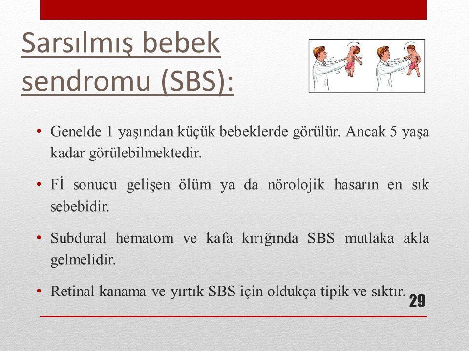 Sarsılmış bebek sendromu (SBS): Genelde 1 yaşından küçük bebeklerde görülür. Ancak 5 yaşa kadar görülebilmektedir. Fİ sonucu gelişen ölüm ya da nörolo