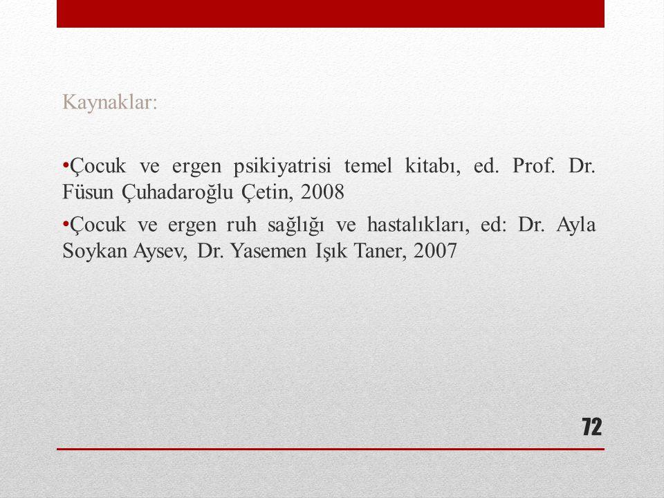 Kaynaklar: Çocuk ve ergen psikiyatrisi temel kitabı, ed. Prof. Dr. Füsun Çuhadaroğlu Çetin, 2008 Çocuk ve ergen ruh sağlığı ve hastalıkları, ed: Dr. A