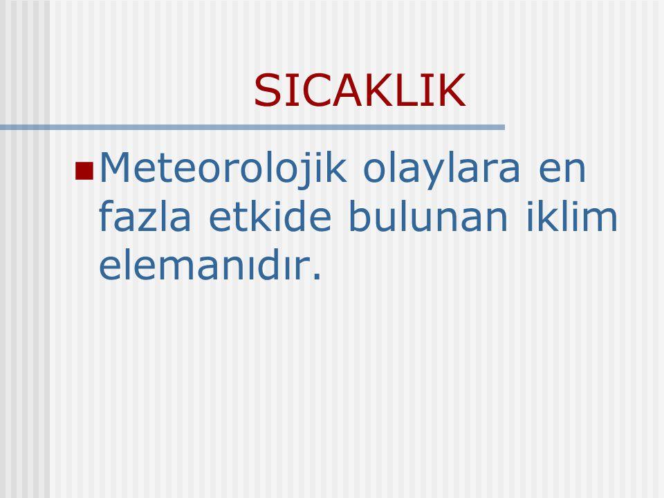 SICAKLIK Meteorolojik olaylara en fazla etkide bulunan iklim elemanıdır.