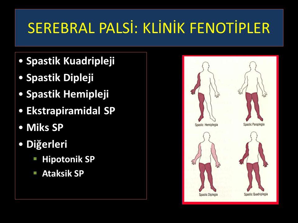 SEREBRAL PALSİ: KLİNİK FENOTİPLER Spastik Kuadripleji Spastik Dipleji Spastik Hemipleji Ekstrapiramidal SP Miks SP Diğerleri  Hipotonik SP  Ataksik