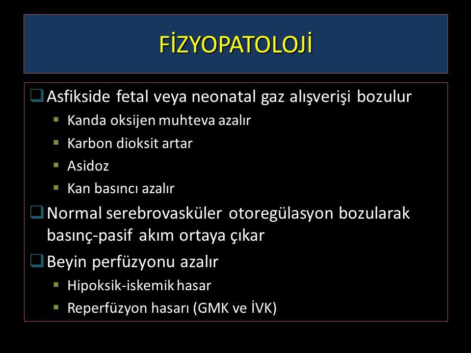 FİZYOPATOLOJİ  Asfikside fetal veya neonatal gaz alışverişi bozulur  Kanda oksijen muhteva azalır  Karbon dioksit artar  Asidoz  Kan basıncı azal