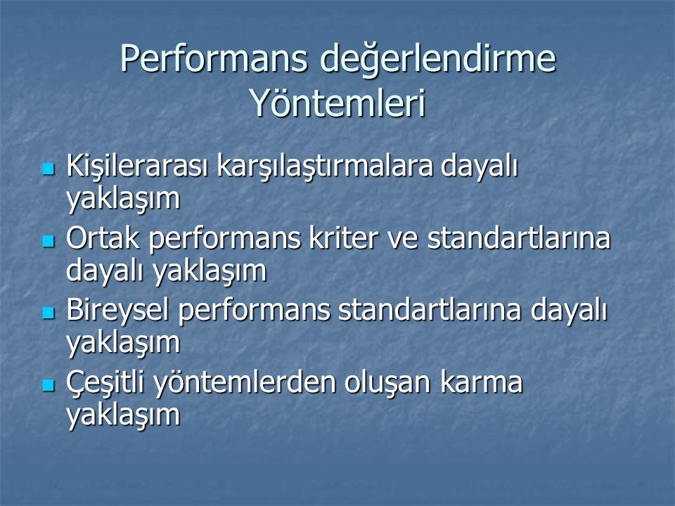 Performans değerlendirme Yöntemleri Kişilerarası karşılaştırmalara dayalı yaklaşım Kişilerarası karşılaştırmalara dayalı yaklaşım Ortak performans kriter ve standartlarına dayalı yaklaşım Ortak performans kriter ve standartlarına dayalı yaklaşım Bireysel performans standartlarına dayalı yaklaşım Bireysel performans standartlarına dayalı yaklaşım Çeşitli yöntemlerden oluşan karma yaklaşım Çeşitli yöntemlerden oluşan karma yaklaşım