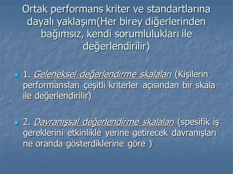 Ortak performans kriter ve standartlarına dayalı yaklaşım(Her birey diğerlerinden bağımsız, kendi sorumlulukları ile değerlendirilir) 1.