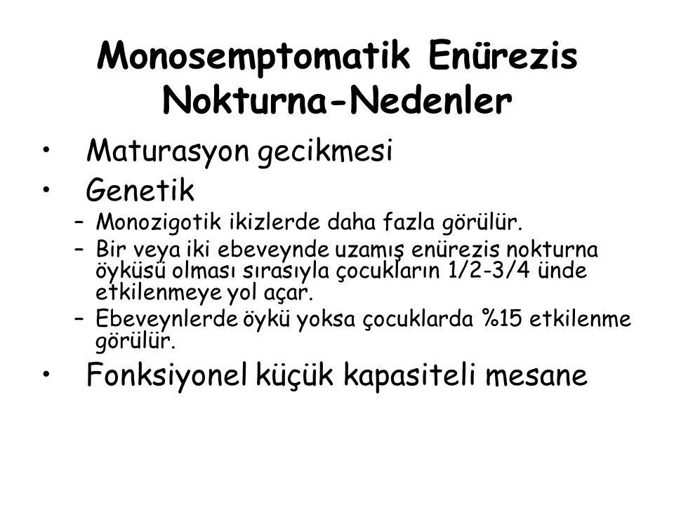 Monosemptomatik Enürezis Nokturna-Nedenler Maturasyon gecikmesi Genetik –Monozigotik ikizlerde daha fazla görülür. –Bir veya iki ebeveynde uzamış enür