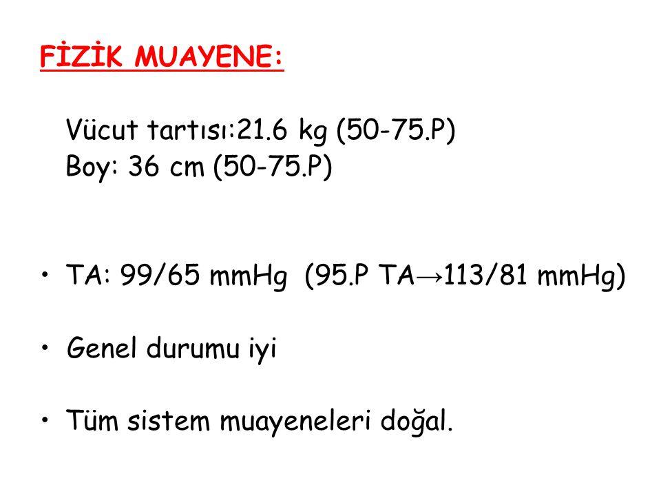 FİZİK MUAYENE: Vücut tartısı:21.6 kg (50-75.P) Boy: 36 cm (50-75.P) TA: 99/65 mmHg (95.P TA → 113/81 mmHg) Genel durumu iyi Tüm sistem muayeneleri doğ