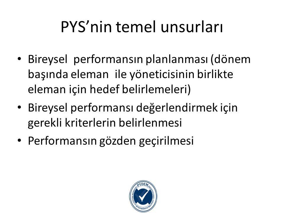 PYS'nin temel unsurları Kişiye performansına ilişkin geri-besleme sağlanması Sağlanan geri-besleme doğrultusunda performansın geliştirilmesi için kişinin yönlendirilmesi(coaching) PD sonuçlarının bireye ilişkin kararların alınmasında temel oluşturması