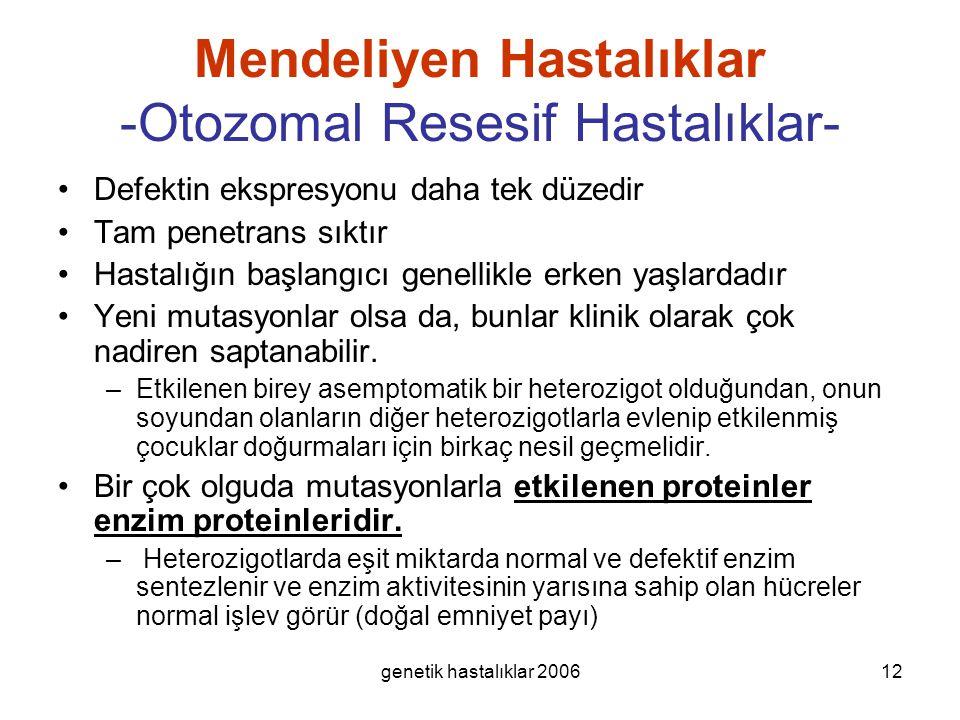 genetik hastalıklar 200612 Mendeliyen Hastalıklar -Otozomal Resesif Hastalıklar- Defektin ekspresyonu daha tek düzedir Tam penetrans sıktır Hastalığın