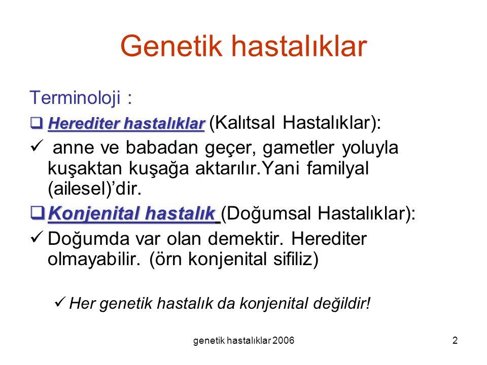 genetik hastalıklar 20062 Genetik hastalıklar Terminoloji :  Herediter hastalıklar  Herediter hastalıklar (Kalıtsal Hastalıklar): anne ve babadan ge