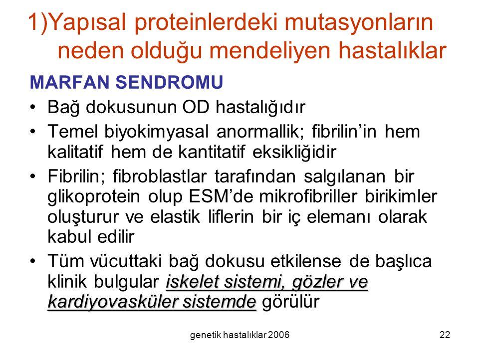 genetik hastalıklar 200622 1)Yapısal proteinlerdeki mutasyonların neden olduğu mendeliyen hastalıklar MARFAN SENDROMU Bağ dokusunun OD hastalığıdır Te