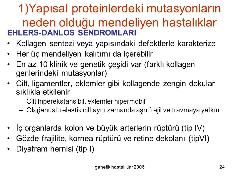 genetik hastalıklar 200624 1)Yapısal proteinlerdeki mutasyonların neden olduğu mendeliyen hastalıklar EHLERS-DANLOS SENDROMLARI Kollagen sentezi veya
