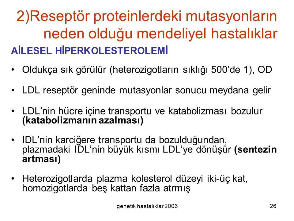 genetik hastalıklar 200626 2)Reseptör proteinlerdeki mutasyonların neden olduğu mendeliyel hastalıklar AİLESEL HİPERKOLESTEROLEMİ Oldukça sık görülür