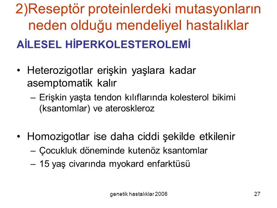 genetik hastalıklar 200627 2)Reseptör proteinlerdeki mutasyonların neden olduğu mendeliyel hastalıklar AİLESEL HİPERKOLESTEROLEMİ Heterozigotlar erişk