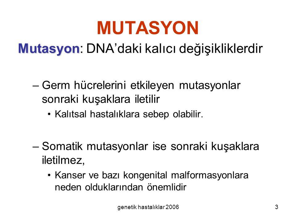 genetik hastalıklar 20063 MUTASYON Mutasyon Mutasyon: DNA'daki kalıcı değişikliklerdir –Germ hücrelerini etkileyen mutasyonlar sonraki kuşaklara ileti