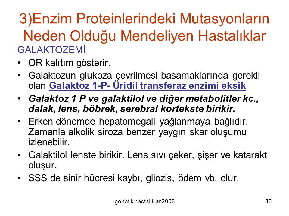 genetik hastalıklar 200635 3)Enzim Proteinlerindeki Mutasyonların Neden Olduğu Mendeliyen Hastalıklar GALAKTOZEMİ OR kalıtım gösterir. Galaktozun gluk