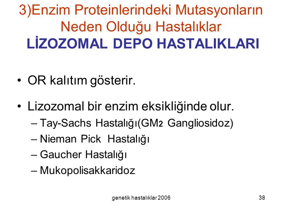 genetik hastalıklar 200638 3)Enzim Proteinlerindeki Mutasyonların Neden Olduğu Hastalıklar LİZOZOMAL DEPO HASTALIKLARI OR kalıtım gösterir. Lizozomal